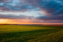 Attractive Evening Sky Of Agrarian Land. Fresh Vibrant Colors.