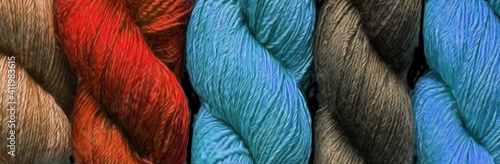 Fototapeta Background from multi-colored yarn.
