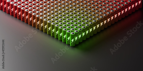 Infinite batteries, clean and sustainable energy concepts, 3d rendering © tostphoto