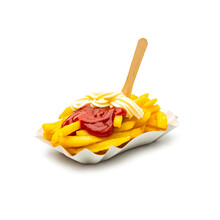 Close-up Of French Fries In Paper Plate On Against White Background