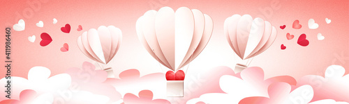 Air balloons on the festive romantic Valentines Day background Fototapete