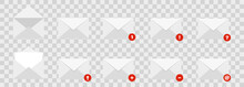 Set Of Envelopes Icons.  Mail Envelopes With  Diferent Status . Colection Of Emails Message, Vector Illustration.