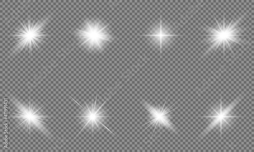 Obraz White beautiful light explodes with a transparent explosion. Vector, bright illustration for perfect effect with sparkles. Bright Star. Transparent shine of the gloss gradient, bright flash. - fototapety do salonu