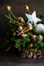 Christmas Candle Decoration With Pine Cones And Fir Branches