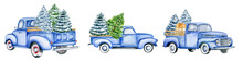 Christmas Blue Vintage Pick Up With Christmas Tree And Gifts. Hand Painted Watercolor Illustration Isilated On White Background. Side And Back View