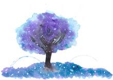 Der Baum Der Gezeiten In Aquarell (blau, Lila,)