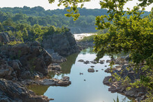 Scenic View Of  Great Falls Park , Maryland River Amidst Trees