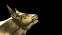 Gold Bull Sculpture. Sculpted Casting Depicting A Bull In Dramatic Contrasting Light Representing Financial Market Trends Under Spot Light. 3D Illustration. 3D High Quality Rendering. 3D CG.