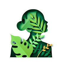 Paper Cut Green Woman Nature Leaf Isolated