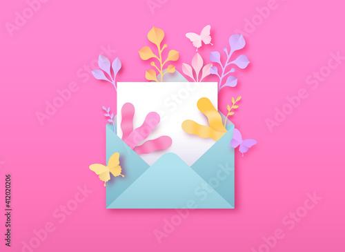 Canvas Empty open letter paper cut nature leaf template