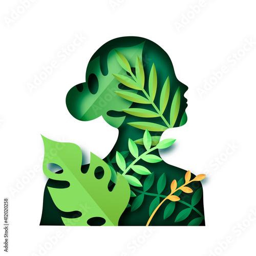 Obraz na plátně Paper cut green woman nature leaf isolated