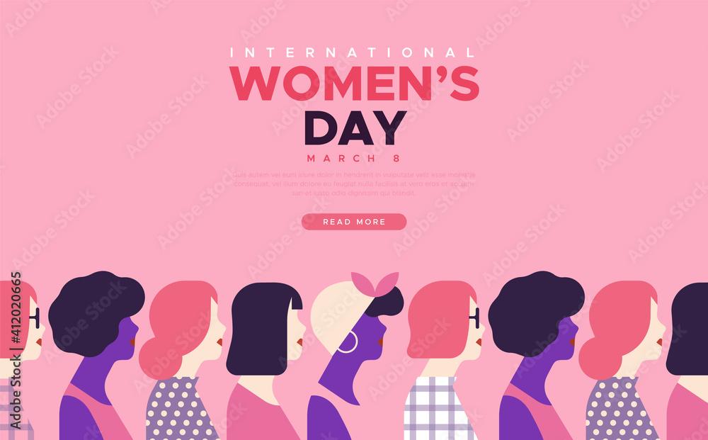 Fototapeta International Women's day diverse women template