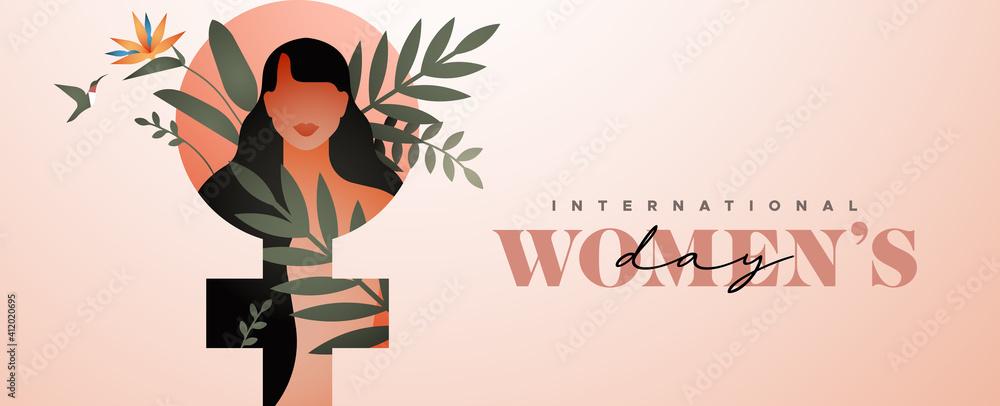 Fototapeta Women's Day tropical flower leaf woman banner