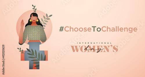 Obraz Women's Day choose to challenge tropical girl card - fototapety do salonu