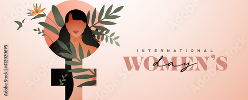 Obraz Women's Day tropical flower leaf woman banner - fototapety do salonu