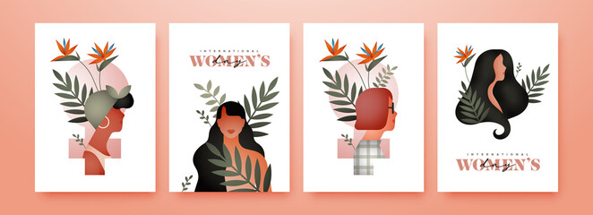 Women's Day diverse woman tropical nature card set