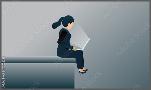 Fényképezés vector illustration of business woman sitting on a  building and using a laptop