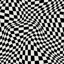 DISTORTED CHECKERED PATTERN. VECTOR SEAMLESS PATTERN