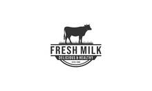 Fresh Milk Logo With Healthy Cow Illustration