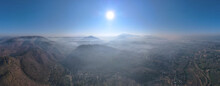 Beautiful Morning Sunrise Over The Mountains Landscape With Misty And Blue Sky At Mae Hong Son Province Amazing Thailand. Aerial View Panorama With Drone.