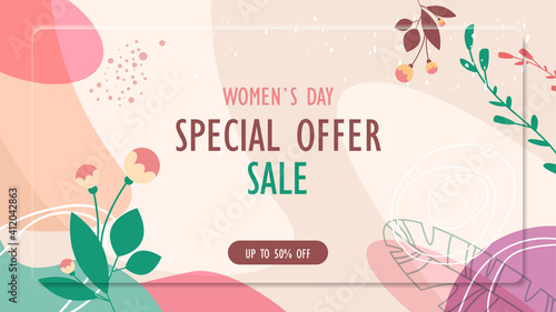 Obraz womens day 8 march holiday celebration vibrant sale banner flyer or greeting card with decorative leaves and hand drawn textures horizontal vector illustration - fototapety do salonu