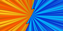 Comic Book Pop Art Strip Radial On Blue And Orange Background