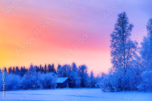 Obraz Trees On Snow Covered Field Against Sky At Sunset - fototapety do salonu