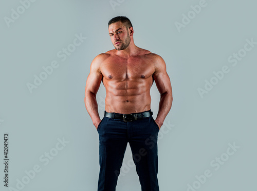 Canvas Print Topless shirtless man male model. Naked bodybuilder.