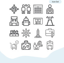 Simple Set Of Tourist Related Lineal Icons.
