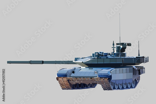Tela Combat modern tank. Vector image on a light background.