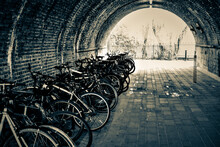 Bicycles Parked On Footpath