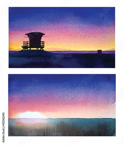 Colorful sunset watercolor vector set #412062645