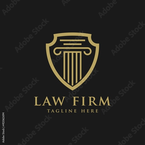Photo Law firm symbol logo, justice and shield vector icon
