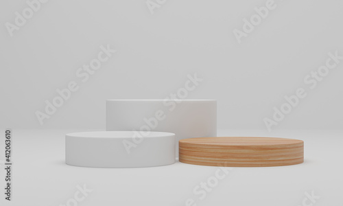 Obraz 3d rendering. Wood podium on white background. Abstract minimal scene with geometric. Pedestal or platform for display, product presentation, mock up, show cosmetic product - fototapety do salonu