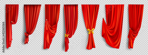 Obraz Red window curtains on transparent background - fototapety do salonu