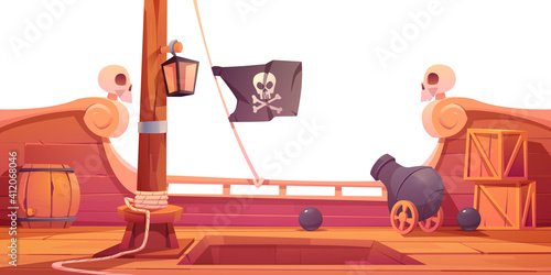 Papel de parede Pirate ship wooden deck onboard view with cannon