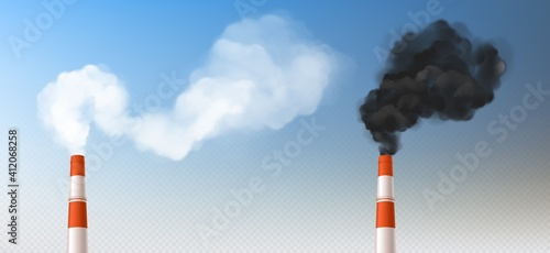 Red white smoke chimneys, realistic stack pipes Fototapete