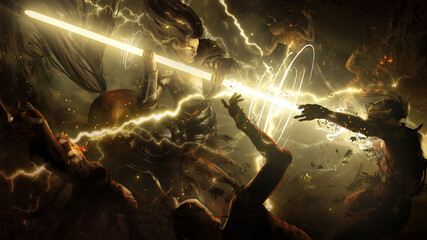 An enraged centaur charged into the crowd of undead with a magical glowing spear that emits a lot of lightning into the zombies . 2d illustration