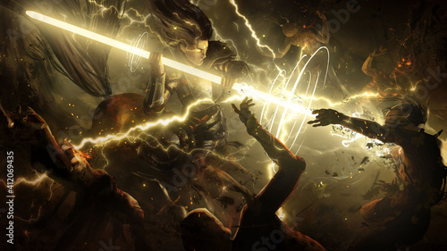 Fototapeta premium An enraged centaur charged into the crowd of undead with a magical glowing spear that emits a lot of lightning into the zombies . 2d illustration