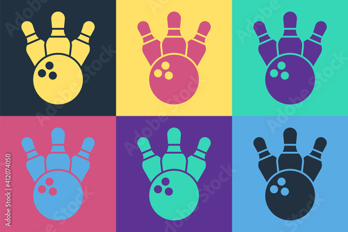 Pop art Bowling pin and ball icon isolated on color background Poster Mural XXL