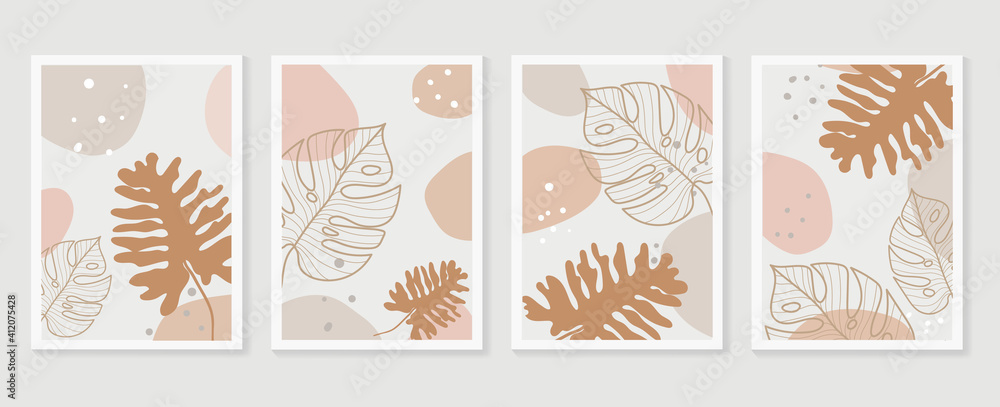 Fototapeta Botanical wall art background vector set.Earth tone natural colors foliage line art  boho plants drawing with abstract shape. Mid century modern design for prints, poster, cover and wallpaper.
