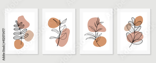 Fotografie, Obraz Botanical wall art background vector set