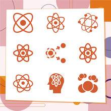 Simple Set Of 9 Icons Related To Fundamental Particle
