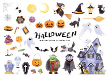 Happy Halloween Big Collection. Character, And Horror House, Party, Candy, Various Symbols. Hand Drawn Watercolor Painting On White, Clip Art Graphic Elements For Printable Decor.