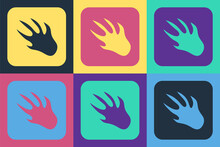 Pop Art Alligator Crocodile Paw Footprint Icon Isolated On Color Background. Vector.