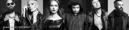 Black and white Fashion collage of beautiful people in leather