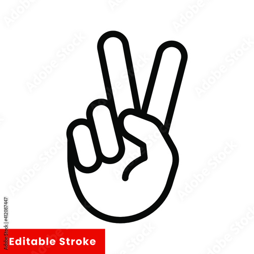 Obraz Hand gesture V sign for victory or peace line icon. Simple outline style for apps and websites. Vector illustration on white background. Editable stroke EPS 10 - fototapety do salonu