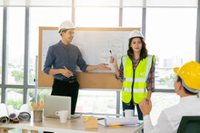 Group Of Diversity People Engineer Meeting Or Discussing Work In Office Or Construction. Engineering Business Concept.