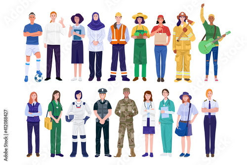 Obraz International women's day. Group of women with various occupations. Vector - fototapety do salonu