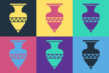 Pop Art Ancient Amphorae Icon Isolated On Color Background. Vector.
